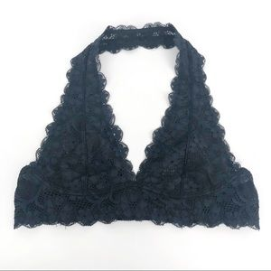 INTIMATELY FREE PEOPLE Lace Halter Bralette Navy S